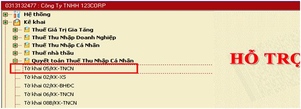 chọn tờ khai 05/KK-TNCN