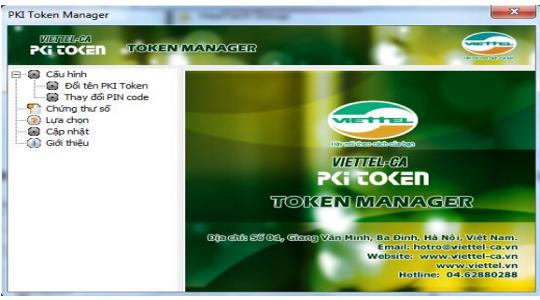 giao diện quản lý Token Viettel