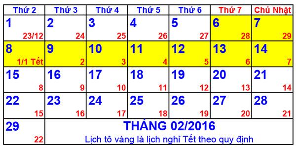 Công tác chuẩn bị và Lịch nghỉ tết âm lịch Bính thân 2016