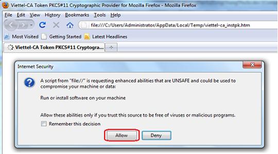 nhấn chọn Allow để tích hợp USB Viettel vào trình duyệt